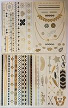 4 Sheets of Metallic Temporary Tattoos by Twink Designs