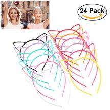 UNOMOR Cat Ear Headbands (24 Pieces with 12 Colors)