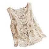 VonFon Women Sleeveless Crochet Knit Tank Blouse Apricot Yellow Medium