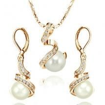 New Pearl Series Yoursfs 18k Gold Plated with Austrian Crystal Pearl Earring and Necklace Set