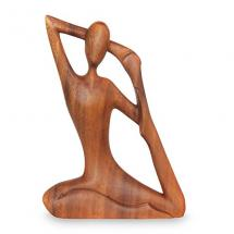 NOVICA Wood Yoga Stretch Sculpture